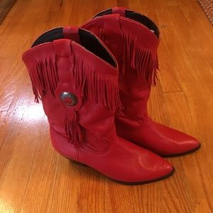 Acme red cowgirl boots size 8.